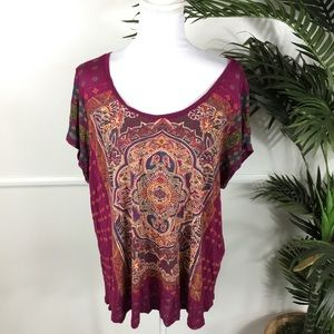 Lucky Brand Bohemian Tee Short Sleeve Womens 2X